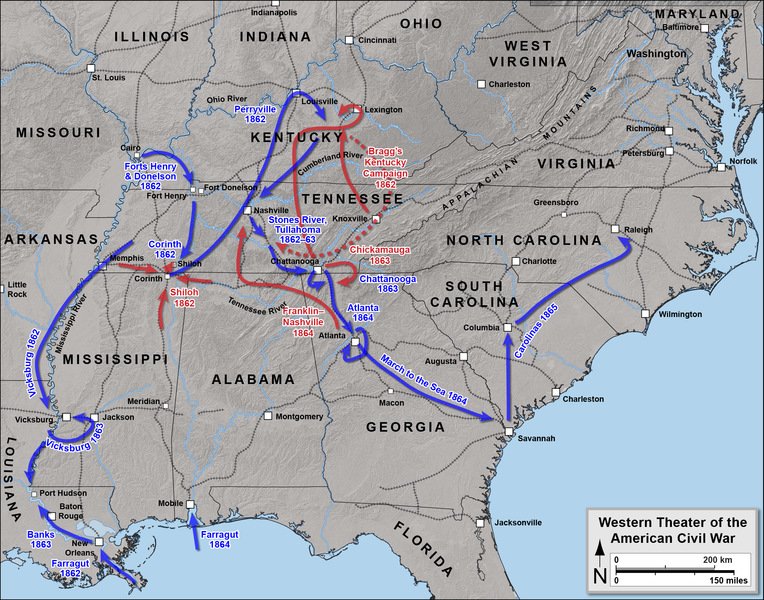 map of the western theater of the american civil war by hal jesn