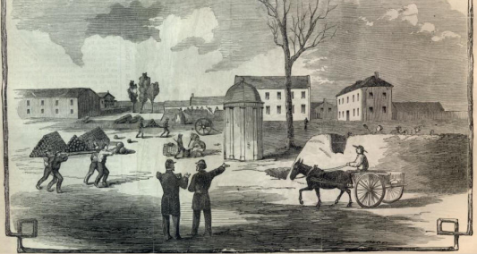 Fortification efforts at the St. Louis Arsenal: Harpers Weekly