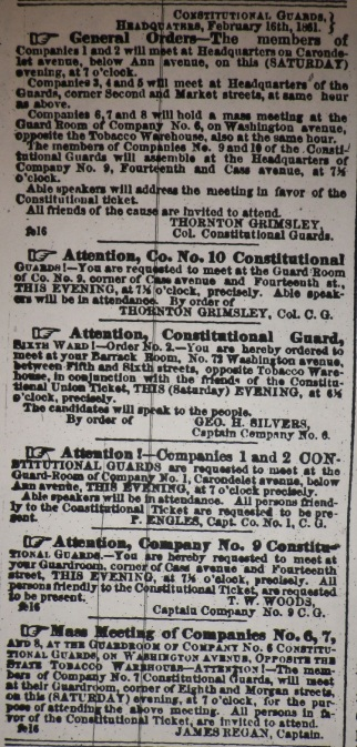 Feb 16, 1861 MISSOURI REPUBLICAN Constitutional Guards Mobilization Orders
